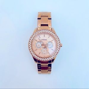 Fossil rose gold chronograph watch diamond accents